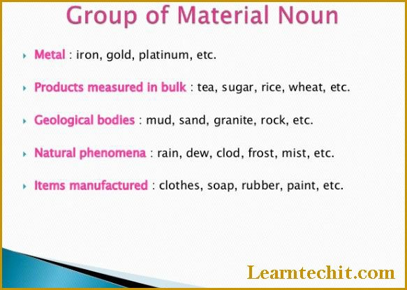LIst of Material nouns